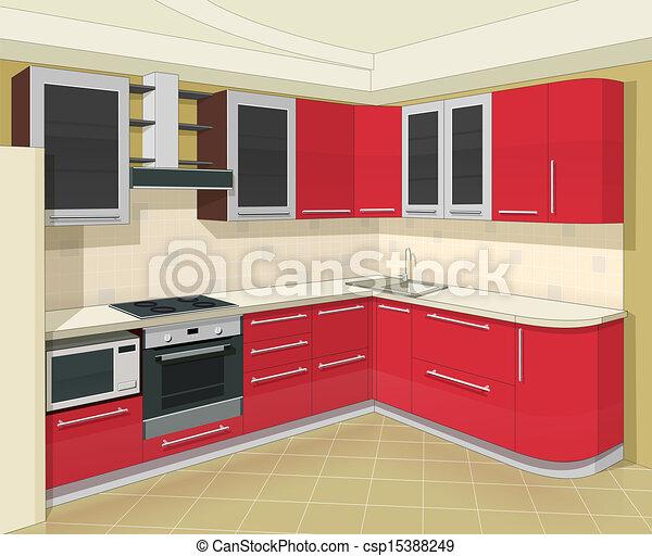 Vetor cozinha interior mob lia estoque de ilustra o for Mobilia cuisine
