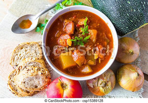 stew zucchini stewed vegetables meat food meal vintage - csp15389128