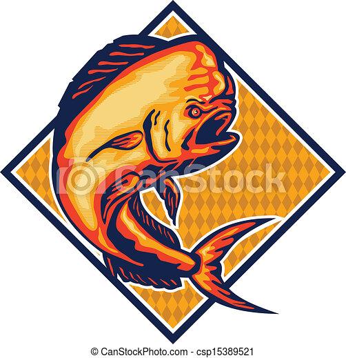 Ilustraciones de Vectores de Dorado, delfín, pez, Mahi-Mahi, Retro ...