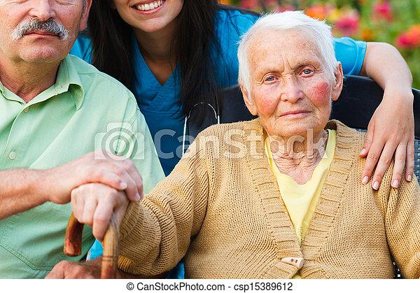 Elderly Lady with Alzheimer's Disease - csp15389612