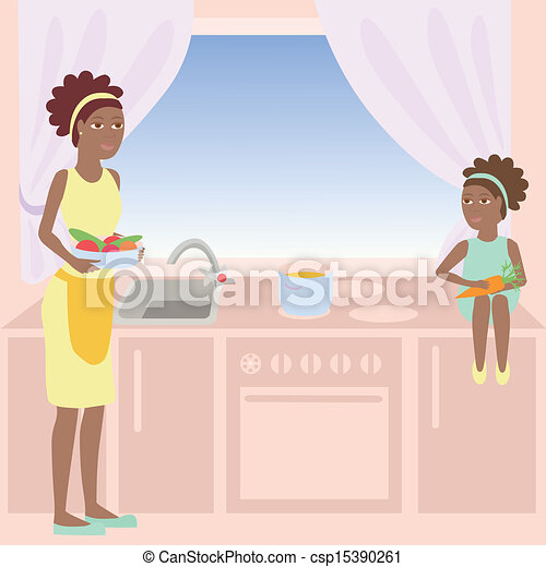Clip Art Vector Of African Mother And Daughter Are Cooking