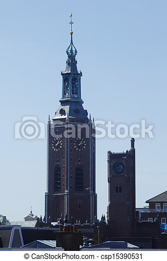 Tower of Sint-Jacobskerk church, Hague - csp15390531