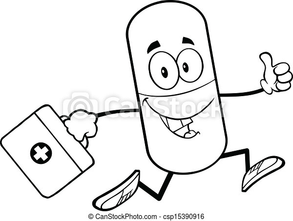 Vector clip art of outlined pill with a medicine bag for How to draw a pill