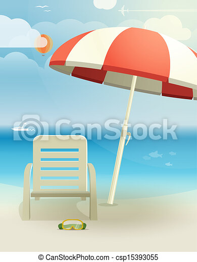 Beach landscape with chair and umbrella - csp15393055