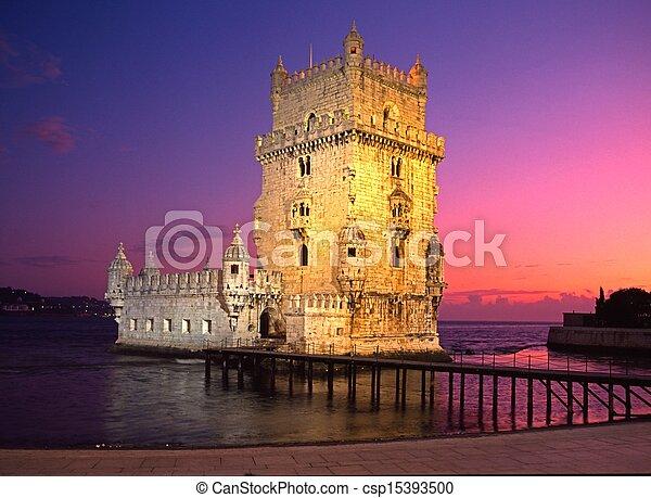 Belem tower at sunset, Lisbon. - csp15393500