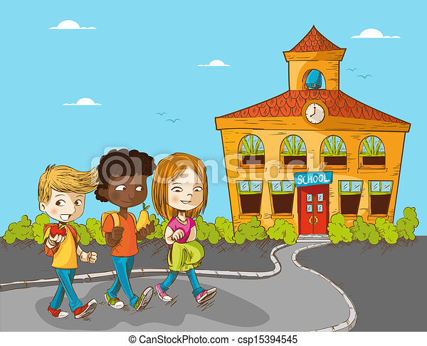 School Cartoon Drawing Back to School Cartoon Kids
