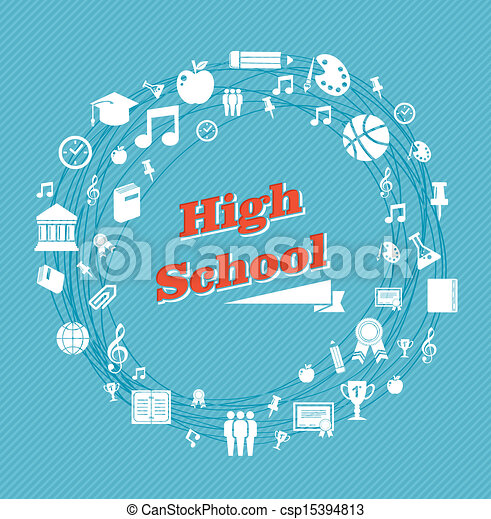 Education high school icons. - csp15394813