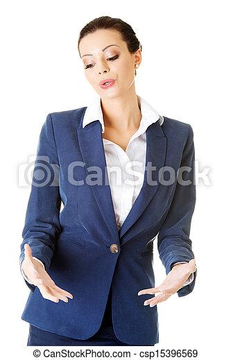 婦女, 她, 事務, 空間, 顯示, 年輕, 棕櫚, 模仿, 愉快 - csp15396569