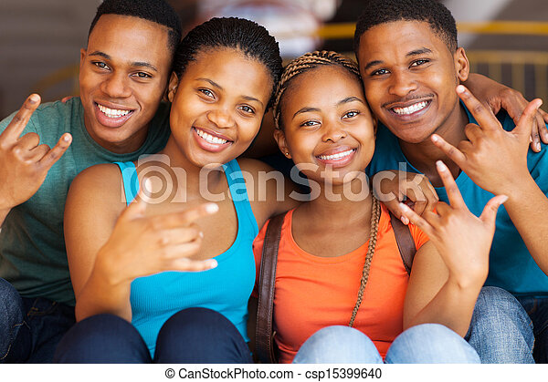 group of african college students giving cool hand signs - csp15399640