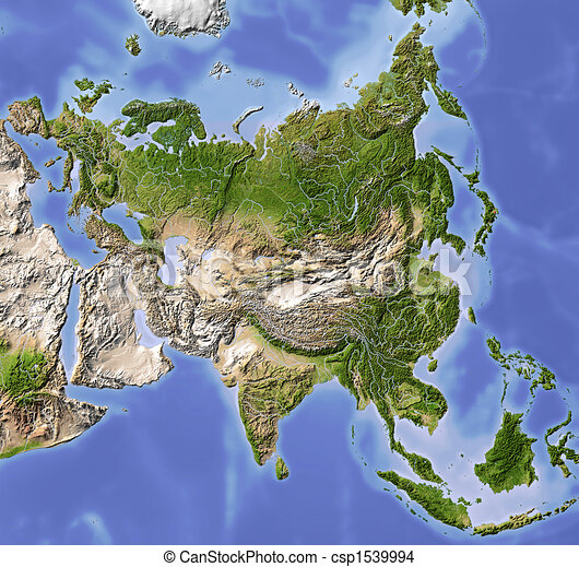 Asia, shaded relief map - csp1539994