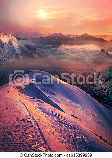 Sunset over the mountains - csp15399959