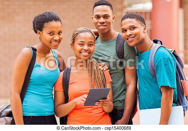 group afro american university students with tablet computer - csp15400689