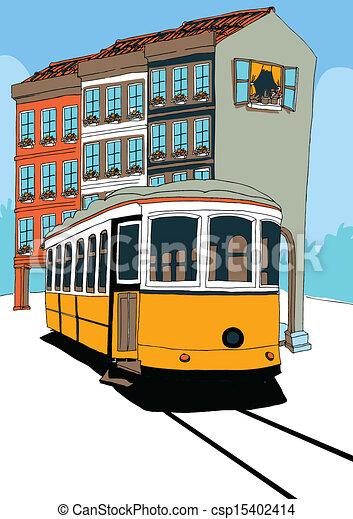 Clip art vecteur de tramway lisbonne lisbon tramway et maisons csp15402414 recherchez - Dessin tramway ...