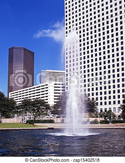 Fountain & skyscrapers, Houston.