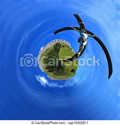 Jesus on the cross in a nature planet - csp15402811