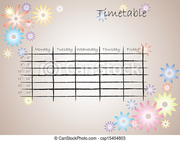 Kids timetable for school - csp15404803