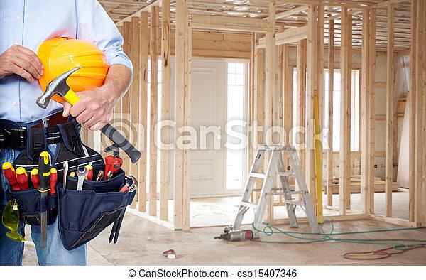 Handyman with a tool belt. - csp15407346