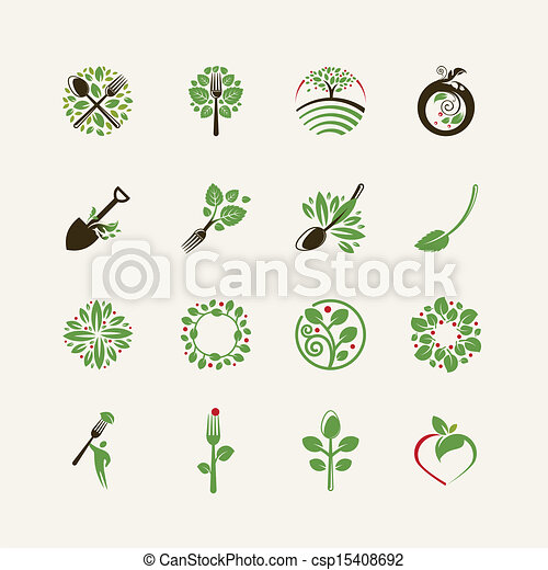 Set of organic food icons - csp15408692