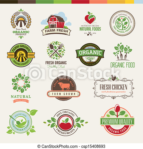 Set of badges for organic food - csp15408693