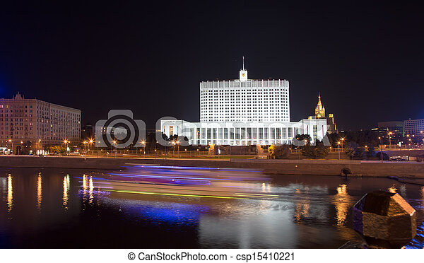 """House of Government in Moscow, Russia, at night. Inscription on the facade means """"House of the Government of the Russian Federation"""" - csp15410221"""