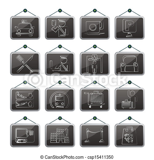 Airport and transportation icons - csp15411350