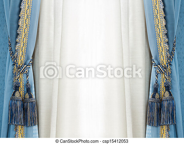 Close up blue color elegance curtain tassel in luxury house