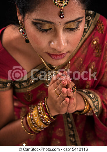Close up Indian woman prayer - csp15412116