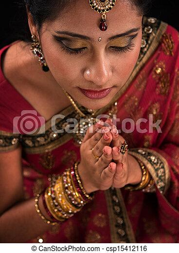 Close up Indian woman prayer - csp15412116