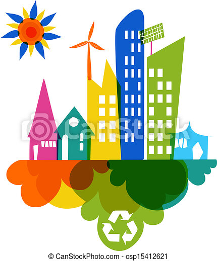 Go green colorful city recycle icon - csp15412621