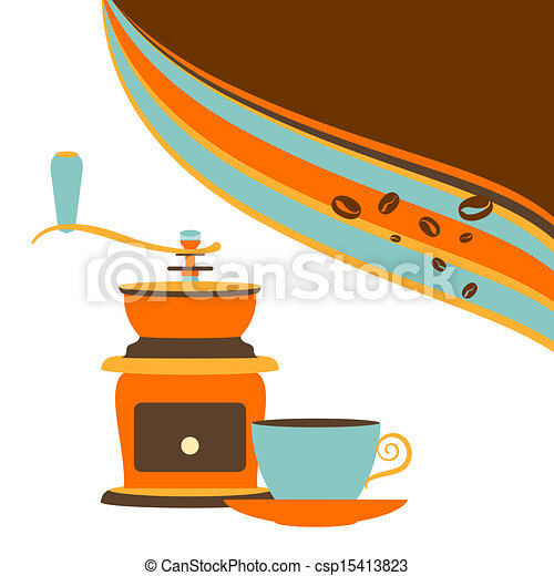 Retro offee and grinder on a white background - csp15413823
