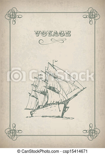 Vintage sailboat retro border drawing on old paper - csp15414671