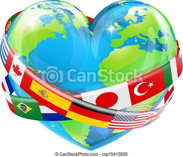 Heart globe with flags - csp15415820