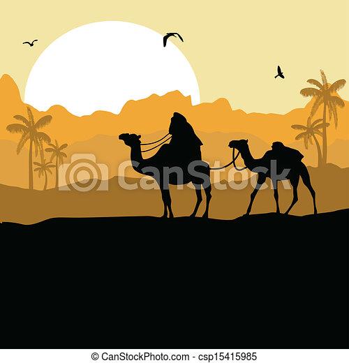 Desert Animals Camel Camel Caravan in Desert