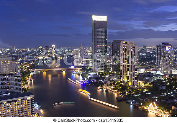A view of Chao Praya River, Bangkok City on high building, Thailand - csp15419335