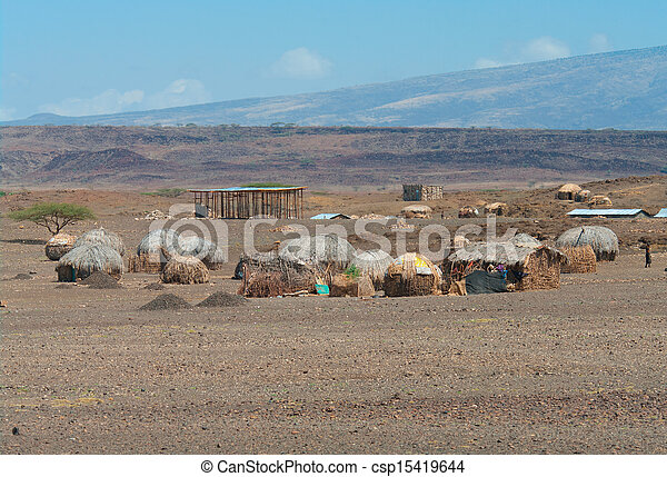 Huts near Lake Turkana, Kenya  - csp15419644