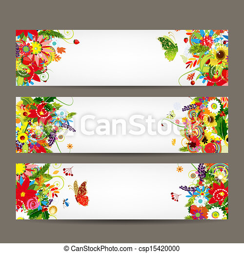 Floral style banners for your design - csp15420000