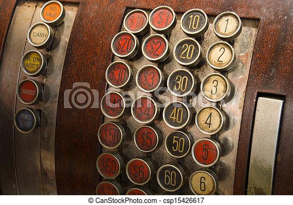 anticaglia, Bottoni, registro, contanti - csp15426617