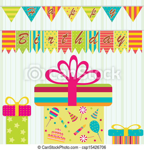 Vector Clipart of Happy birthday background - Happy birthday card ...