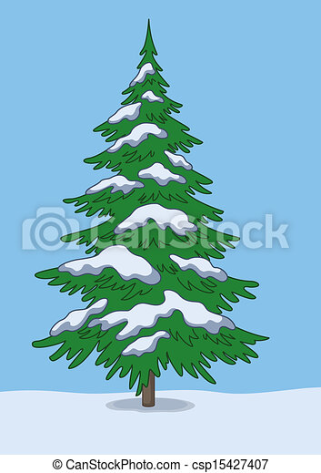 Stock Illustration of Christmas tree, snow and sky - Christmas green tree, snow... csp15427407 ...