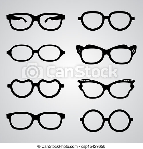 Clipart Vector of Vector black thick glasses set - Vector glasses ...