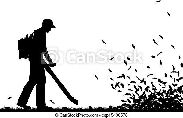 Leaf blowing - csp15430578
