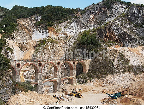 Ponti di vara bridges - Carrara marble quarries, Italy - csp15432254