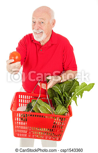 Senior Man Shops for Produce - csp1543360