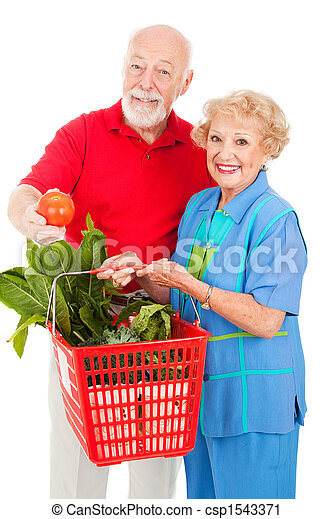 Seniors with Organic Produce - csp1543371