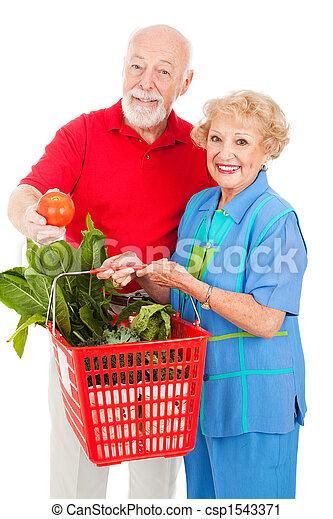 Seniors with Organic Produce - csp1543371