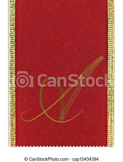 Textile monogram letter A on a ribbon
