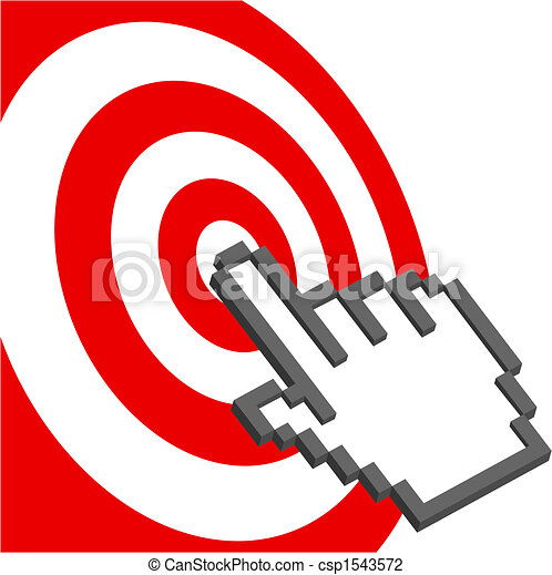 Cursor hand points to select red target bulls-eye - csp1543572