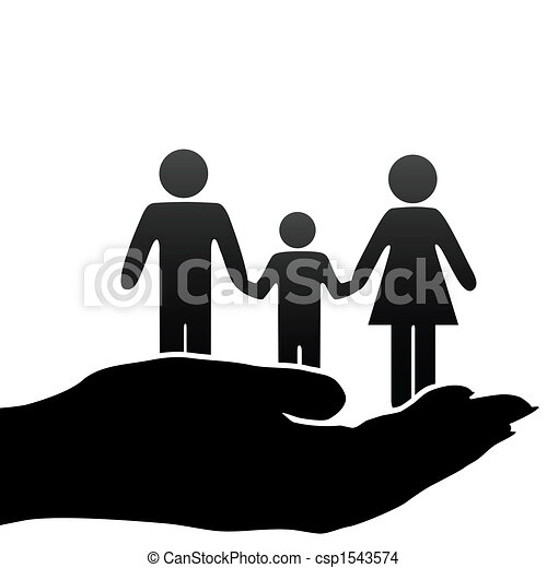 mother father child family symbols in cupped hand - csp1543574