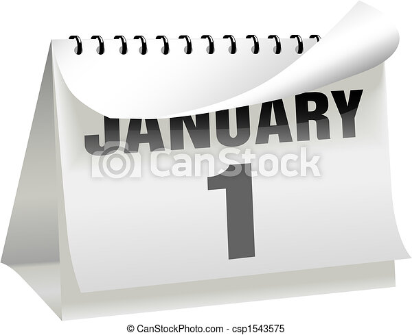 New Years Day Calendar Turns a Page Curl to January 1 - csp1543575