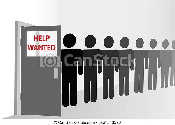 People wait in line to enter door with copyspace window - csp1543576